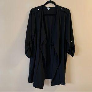 Kismet black lightweight overcoat with gold detail